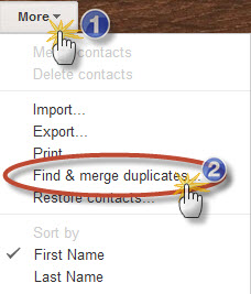 "Click the ""Find & Merge duplicates"" button..."