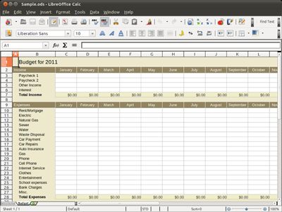 A Free Spreadsheet from LibreOffice